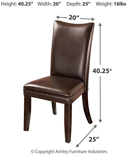 Signature Design by Ashley - Charrell Dining Upolstered Side Chair - Set of 2 - Contemporary Style - Medium Brown - SET OF TWO CLASSIC DINING ROOM CHAIRS: The contemporary Parsons shape of this faux leather upholstered dining chair is a comfortable addition to any dining room HANDSOME LINES: Dining chair with a cushioned seat and back is crafted from wood and manmade wood RICH LEATHER LIKE FEEL: Easy to clean medium brown faux leather upholstery. Legs feature a faux wood finish - kitchen-dining-room-furniture, kitchen-dining-room, kitchen-dining-room-chairs - 41FtqylhQ6L -