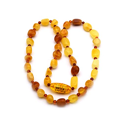 B&A Amber Baltic Amber Necklace for Baby- Reduceing Anti Inflammatory, Drooling Pain for child 0-9 year old (Large(14in), Multi-color)