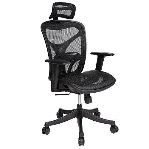 Modern Adjustable Mesh Executive Office Computer Desk Ergonomic Chair High-Back Lift Swivel Chair (Black)