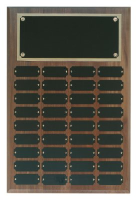 Genuine Walnut Perpetual Plaque - 36 Plate Perpetual Plaque 18