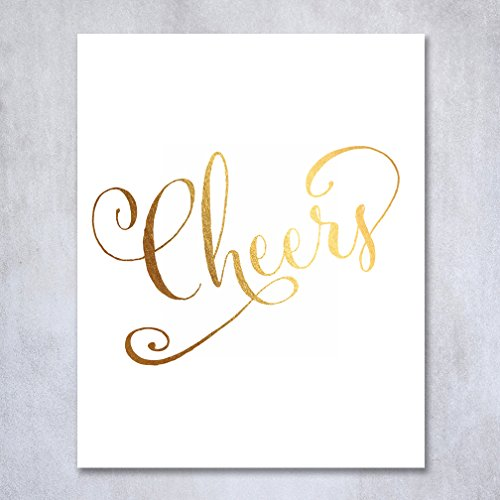 Cheers Gold Foil Print Wedding Reception Signage Bar Cart Sign Drinks Party Bartender Champagne Wine Beer Brunch Bridal Shower