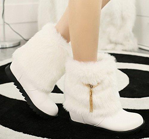 Idifu Womens Comfortabele Kwastjes Lage Sleehak Stijgt Nepbont Gevoerde Winter Snowboots Booties Wit