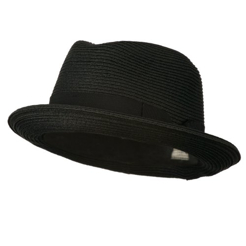 Toyo Paper Straw Fedora Hat - Black 56CM (Medium)