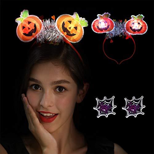 VIRIITA LED Halloween pumpkin Ghost Skull Hair Hoop Cosplay Devil Headband for Girls Adult Halloween Christmas Party Decorations Hair Accessories (Pumpkin)