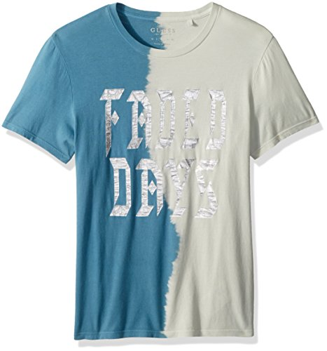 GUESS Men's Short Sleeve Basic Faded Days Crew TEE, Mountain Blue/Multi, M