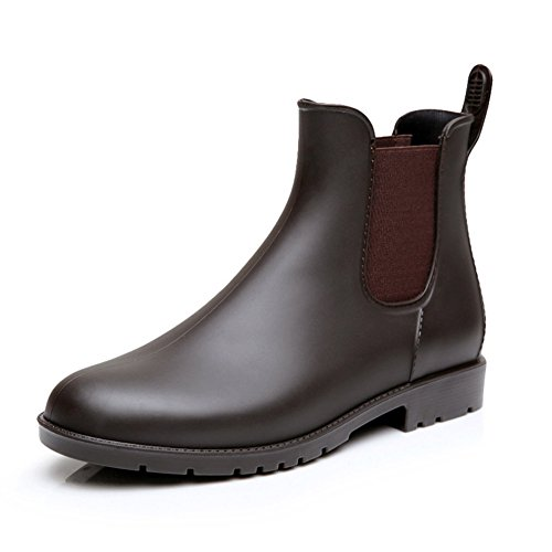 Rain Brown Boots Rubber (Comwarm Womens Anti Slip Ankle Rain Boots Waterproof Slip On Rain Shoes Elastic Chelsea Brown Rain Booties)