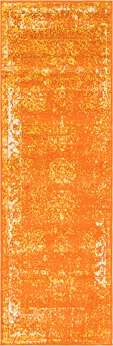Unique Loom 3137819 Sofia Collection Traditional Vintage Beige Area Rug, 2' x 7' Runner, Orange (Runner Burnt Orange Rug)