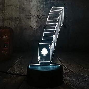 Póquer Naipes Juego De Dados Fiesta 3D Luz Nocturna Led Mesa De ...