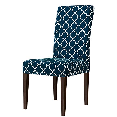 subrtex Printed Dining Chair Slipcovers Stretch Removable Washable Elastic Parsons Chair Seat Covers for Dining Room Kitchen (4,Navy Blue)