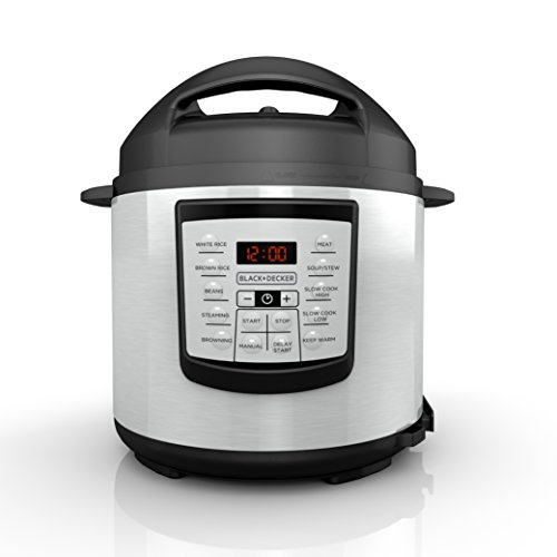 BLACK+DECKER PR100 6 Quart Programmable Pressure Cooker with 7 Pressure Functions, Stainless Steel Pressure Cooker