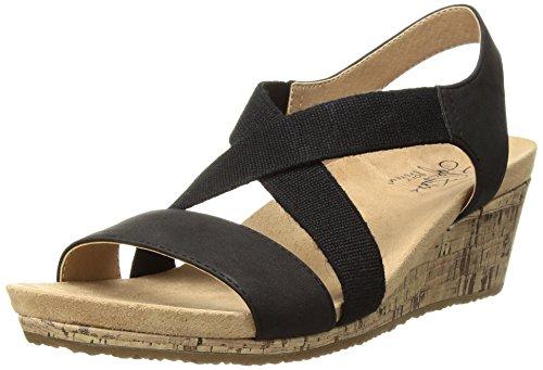 LifeStride Women's Mexico Wedge Sandal, Black, 6.5 M US