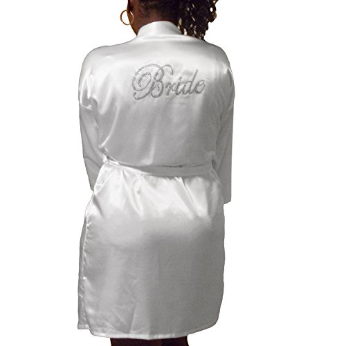 Stock Satin Robe - Gifts Are Blue Womens Short Kimono Solid Satin Lounge Robe (Medium, White w Silver Bride Rhinestones)