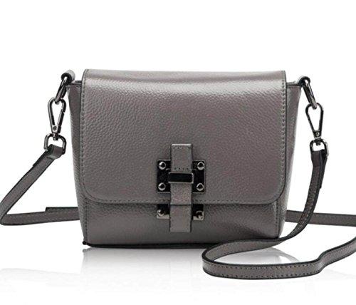 Cuero Bolsos Bolsos Hombro Paquete Diagonal Mini Paquete Cuadrado Pequeño Gray