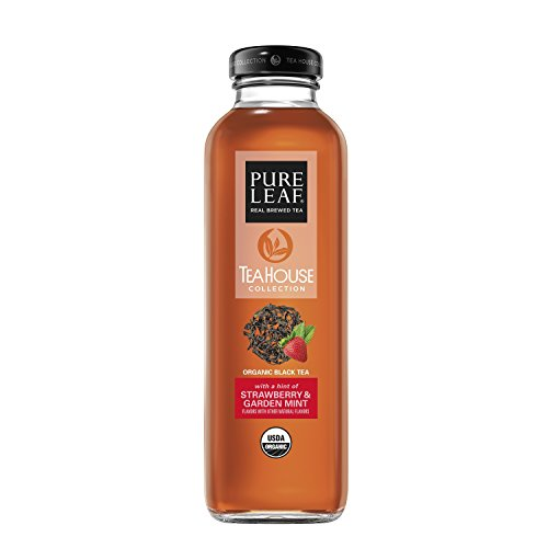 Pure Leaf Tea House Collection, Organic Iced Tea, Strawberry & Garden Mint, 14 Ounce (8 Bottles) (Strawberry Pure)
