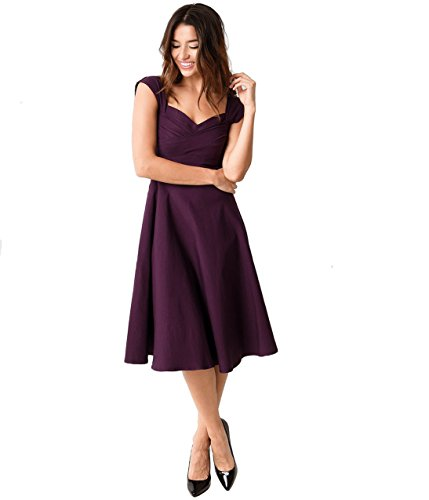 Stop Staring! Mad Style Eggplant Cap Sleeve Swing Dress by Unique Vintage