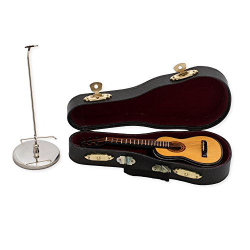 5 in. Steel String Guitar Music Instrument Miniature Replica on Stand with Case