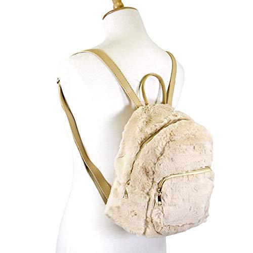 Beige Women's Mini Shoulder Plus Fuzzy Soft Schoolbag Me Faux Purse bag Backpack Fur gwpqOCn7x