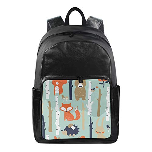 MAHU Backpack Animals Fox Bear Rabbit Pattern Fashion Waterproof Casual College Laptop Bag Bookbag Travel Zipper Hiking School Bag Daypack for Women Men