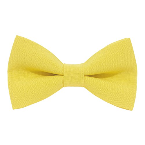 Classic Pre-Tied Bow Tie Formal Solid Tuxedo, by Bow Tie House (Large, Lemon) ()