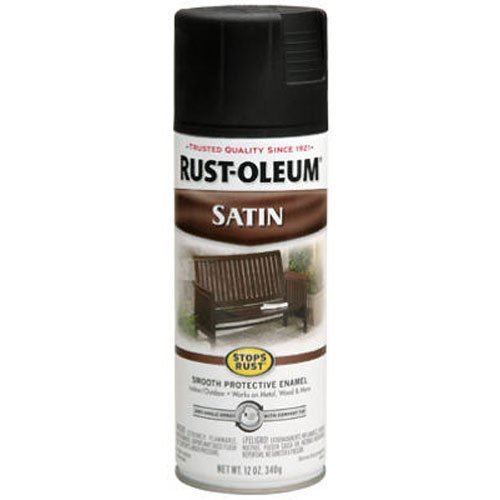 Rust-Oleum 7777830 Satin Enamel Spray, 12-Ounce, Black - Black Satin Paint Finish
