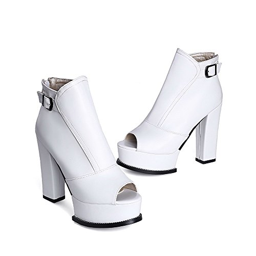 Allhqfashion Womens Peep Toe High-heels Zacht Materiaal Stevige Kettingen Sandalen Wit