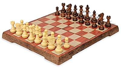 """Rosewood Color Folding Magnetic Travel Chess Set - 14"""""""