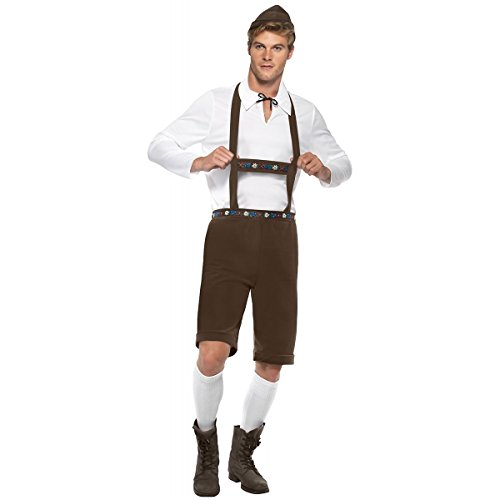 Smiffy's Men's Bavarian Man Costume, Lederhosen Shorts, suspenders, Top and Hat, Around the World, Serious Fun, Size L, (Male Lederhosen)