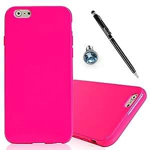 Funda de silicona para Apple iPhone 6 4,7/6S, BADALink 3 en 1 Set/6S iPhone 6 4,7 pulgadas Case Cover Case Soft muy fina, diseño de rosas Red antipolvo móvil y lápiz capacitivo para pantalla táctil