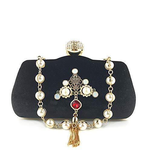 Metallo Perle Di In Diamanti Sera Oro Black Donna Fibbia E Nappa Pochette Borsa Con Cinturino 3 Da Flanella IxY0pqY8w