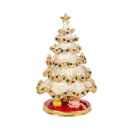 qifu Hand Painted Enameled Christmas Tree Decorative Hinged Jewelry Trinket Box Unique Gift For Home Decor