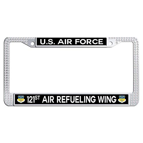 Hensteelna US Air Force 121st Air Refueling Wing Sparkle Crystal License Frame U.S. Air Force Glitter Crystal Auto License Tag Holder (White,1 pic, 6' x 12' in) ()