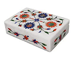 Mothers Day Gift Gorgeous Handcrafted Marble Trinket Jewelry Box with Elegant Floral Inlay Unique Gifts