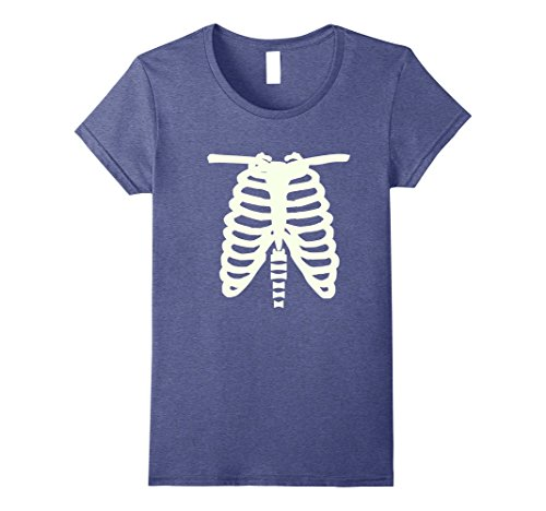 Womens Halloween Rib Cage Skeleton Costume Alternative T-Shirt Small Heather Blue