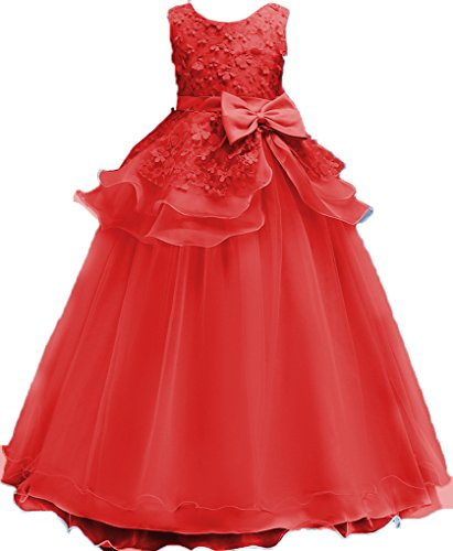 Shiny Toddler Little Girls Princess Birthday Party Ball Gown Floor Length Dress - Red Ball Shiny