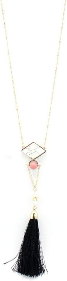 Collar,Rosa,Collar Colgante De Piedra Artificial Geométricas Retro Joyería Femenina Declaración Largo Negro Collar Borla Parte Accesorios Joyas