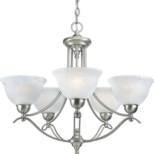 Progress Lighting P4068-09 5-Light Avalon Chandelier, Brushed Nickel For Sale