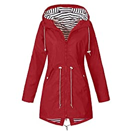 iHAZA Hooded Jacket Raincoat Plus Size Women Outdoor Waterproof Windproof Coat