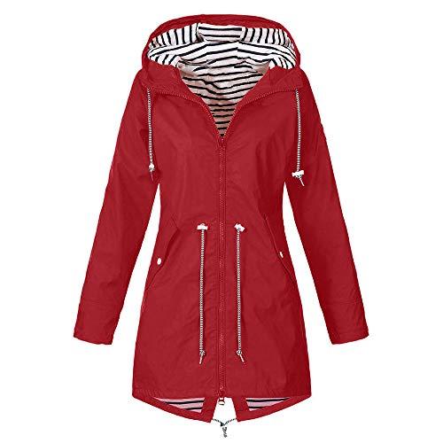 ZEFOTIM Woemn's Solid Rain Jacket Outdoor Jackets Waterproof Hooded Raincoat Windproof(XX-Large,A-Red)