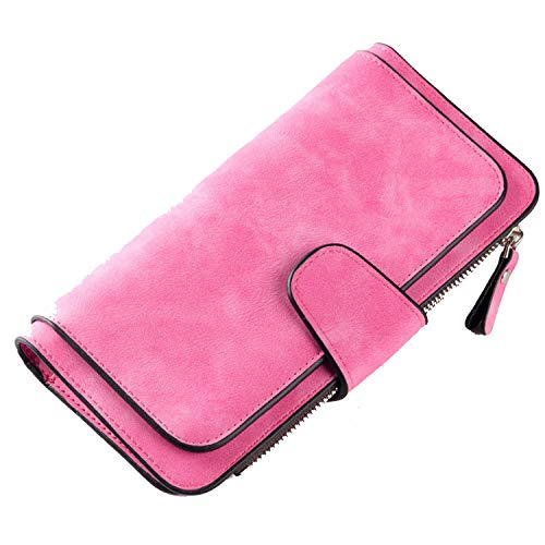 Fashion Vintage Style Wallet Purse Long Soft Leather Women Wallets Credit Card Holders Money Bag,Rose Red