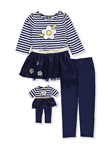 s' Flower Tutu Legging Set with Matching Doll Outfit, Navy/White, 10 ()