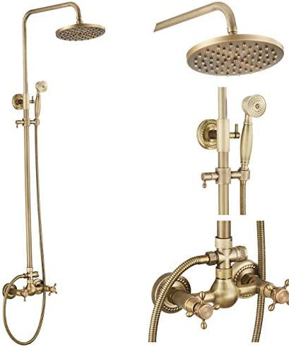 GGStudy Antique Brass Rain Shower System Set 2 Knobs Mixing 8 Inch Round Rainfall Shower Head with Handheld Spray Bathroom Shower Faucet