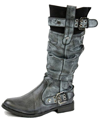 Riding Ladies Flat Womens Heel Low High Black 15 Winter Size Biker Style Black Style Boots Knee FaHawX