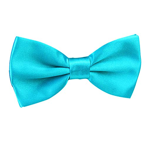 Men's Pre-Tied Adjustable Length Solid Color Tuxedo Bow Tie, Turquoise