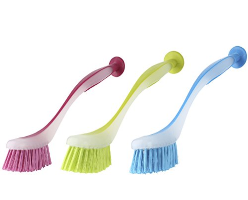 Cup Ceramic Washing (Dish Brush with Suction Cup by Spogears, The Dishwashing Brushes Set Includes 3 Kitchen Scrub Brush 3 Assorted Colors, Long & Grip Friendly Handle, Soft bristles, Scrubbing Dish Brush (3))