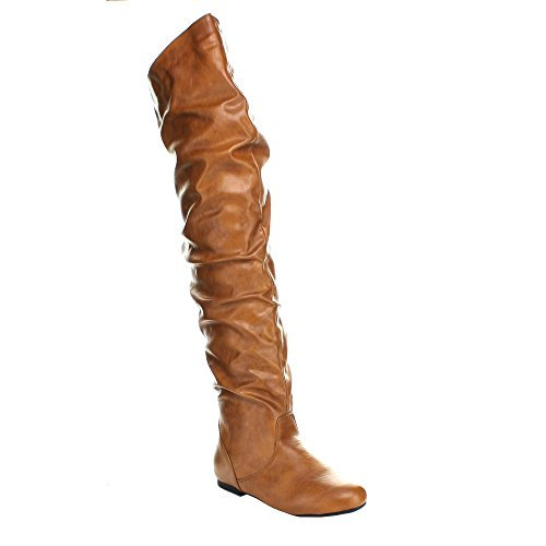 Top Moda JL-21 Women's Over The Knee Slouch Boots Tan