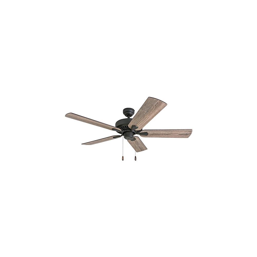 "Prominence Home 50582-01 Eagle Creek Farmhouse Ceiling Fan, 52"", Barnwood/Tumbleweed, Aged Bronze"