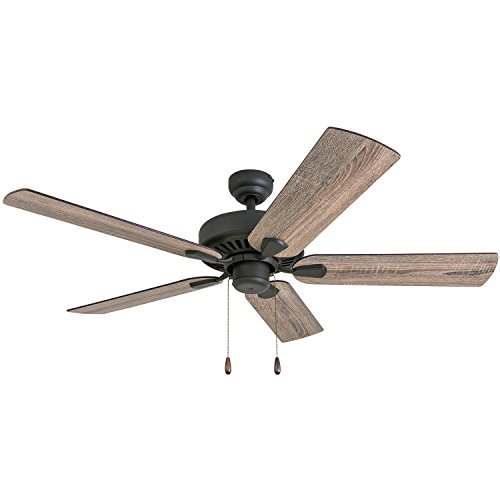 "Prominence Home 50582-01 Eagle Creek Farmhouse Ceiling Fan 52"" Barnwood/Tumbleweed, Aged Bronze"