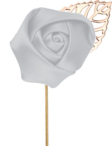 - Flairs New York Gentleman's Essentials Premium Handmade Flower Lapel Pin Boutonniere (Pack of 1 Pin, Platinum Silver [Rose Gold Leaf])