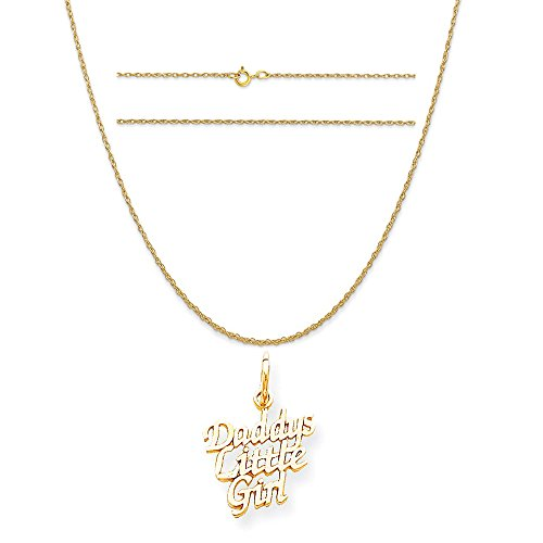 10k Yellow Gold Daddys Little Girl Charm on a 14K Yellow Gold Carded Rope Chain Necklace, 16