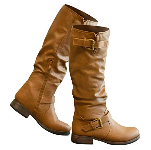 (Syktkmx Womens Slouchy Winter Knee High Chunky Flat Low Heel Buckle Strap Boots)